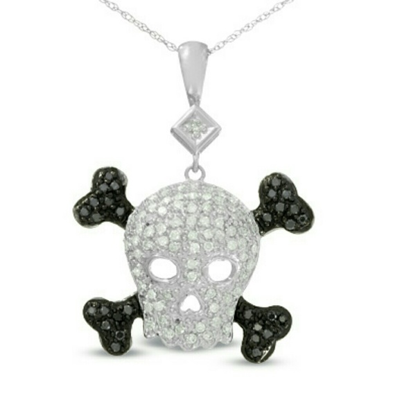Jewelry black white diamond skull crossbones necklace poshmark black white diamond skull crossbones necklace aloadofball Gallery